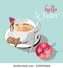 Hello winter Woman and winter tea. Vector illustration of woman with winter hat bathing in winter tea with christmas cookies and christmas ball on blue background