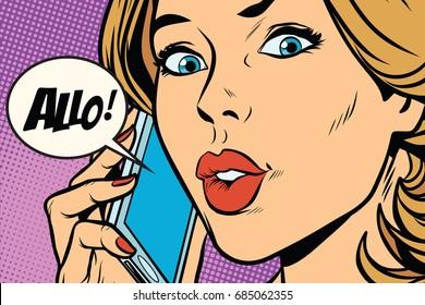 Hello woman on the phone. Pop art retro comic book vector illustration