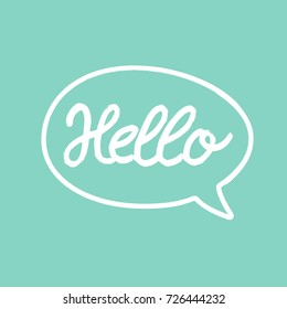 Hello word calligraphy design, turquoise background, vector illustration