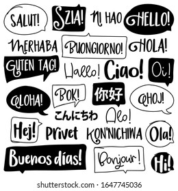 Hello word in different languages. French, spanish, japanese, chinese, hungarian. Bonjur, salut, hola, ni hao, konnichiwa, aloha, hi, hallo, ciao, privet, buenos dias, bonjour, words in speech bubbles
