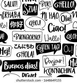 Hello word in different languages. French, spanish, japanese, chinese, hungarian. Bonjur, salut, hola, ni hao, konnichiwa, aloha, hi... words in speech bubbles. Seamless pattern.