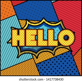 hello word pop art style expression
