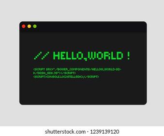 Hello world code illustration. Coding concept illustration