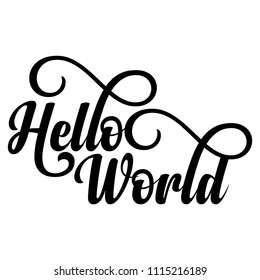 Hello World - Pregnant vector illustration. Typography illustration for new borns.  Good for scrap booking, posters, greeting cards, banners, textiles, T-shirts, mugs or other gifts, baby party.