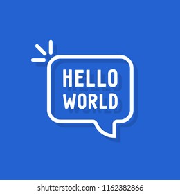 hello world text in speech bubble. concept of simple text for greeting card or postcard. flat cartoon style trend modern minimal linear logotype graphic art design isolated on blue background