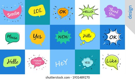 Hello wow ok yes, Speech bubbles with dialog words Vector bubbles speech illustration Thinking and speaking clouds