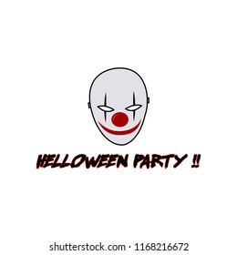 helloween party - evil clown logo template