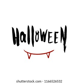 Helloween Poster scare red bloody teeth with black hand drawn brush lettering. Vector illustration. Ideal for party, cards, greetings
