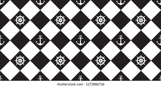 helm anchor seamless pattern vector checked maritime nautical boat sea ocean wallpaper isolated