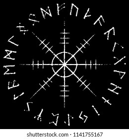 Helm of awe, helm of terror, Icelandic magical staves with scandinavian runes, Aegishjalmur vintage design, isolated on black, vector illustration