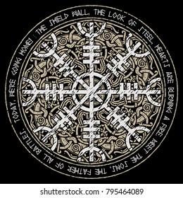Helm of awe, helm of terror, Icelandic magical staves with scandinavian pattern, Aegishjalmur, isolated on black, vector illustration