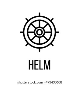 Helm icon or logo in modern line style. High quality black outline pictogram for web site design and mobile apps. Vector illustration on a white background.