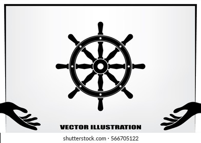 the helm of the ship icon vector illustration.