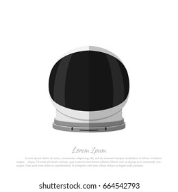 Helmet of astronaut on a white background. Icon of space hat in flat style. Vector illustration