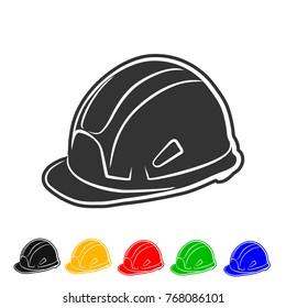Helmet building icon vector color