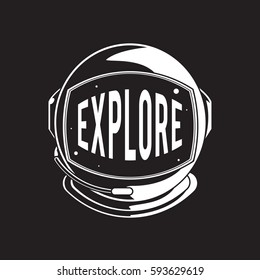 Helmet with explore word graphic design