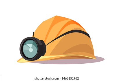Helmet with flashlight flat vector illustration. Building, construction protective item. Safety equipment. Miners protecting hard hat. Yellow headpiece for construction worker. Professional equipment
