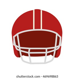 helmet football american head protection red men vector  isolated and flat illustration
