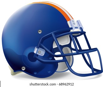 Helmet football blue Orange withe line