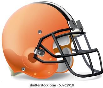 Helmet football Orange black & withe line