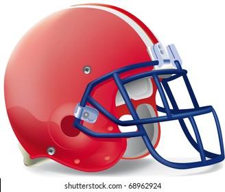 Helmet football red withe line blue mask