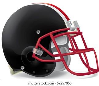 helmet football team black & red mask withe line