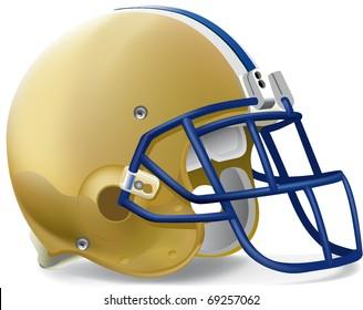 helmet football team Gold & Blue mask withe line