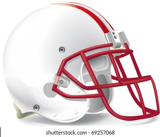 helmet football team withe & red mask red line