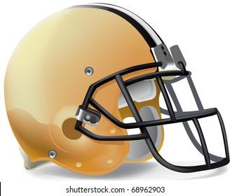 Helmet football yellow gold withe & black line