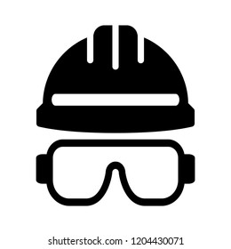 helmet glasses safety construction tools - vector safety dust mask sign symbol. engineer equipment illustration isolated, silhouette protection logo