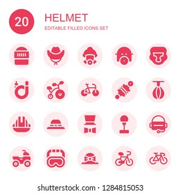helmet icon set. Collection of 20 filled helmet icons included Warrior, Hat, Firefighter, Gas mask, Boxing helmet, Bicycle, Bike, Damper, Punching ball, Helmet, Virtual reality