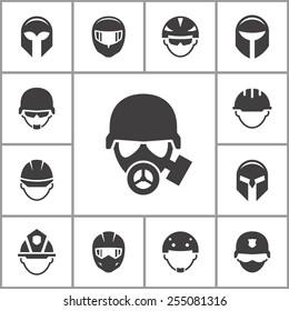 Helmet icons set.