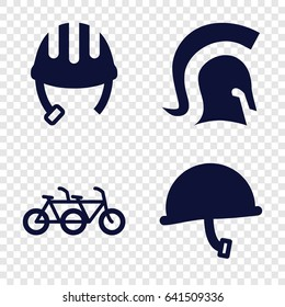Helmet icons set. set of 4 helmet filled icons such as knight