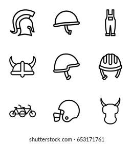Helmet icons set. set of 9 helmet outline icons such as gardener jumpsuit, knight