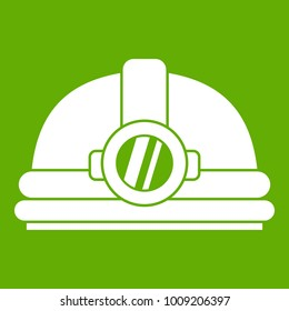 Helmet with light icon white isolated on green background. Vector illustration