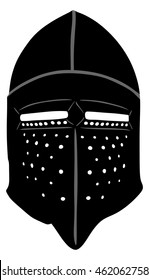 Helmet Of A Medieval suit of armour on a white background, vector illustration.