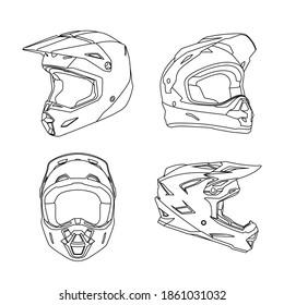 Helmet motocross racing line art made by 25 November 2020 at Malang City East Java