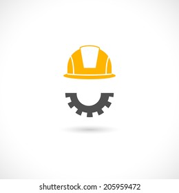 Helmet in orange color of engineer and beard in cog wheel style vector illustration