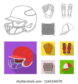 Helmet protective, knee pads and other accessories. Baseball set collection icons in outline,flat style vector symbol stock illustration web.