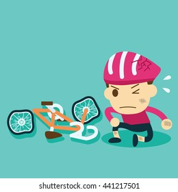 the helmet protects cyclists.bicycle accident.