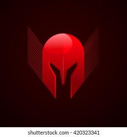 Helmet red roman spartan greek logo vector