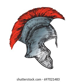 Helmet of the Roman Legionnaire, hand drawn doodle, sketch in woodcut style, vector illustration