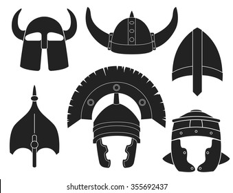 Helmet silhouette set. Vector contours isolated on white background. Spartan, centurion, greek, roman, gladiator and viking ancient soldier war head protection. Concept for logo.