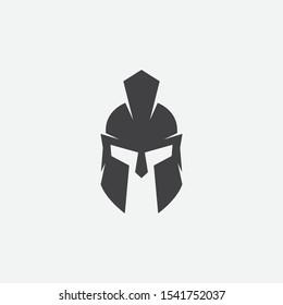 helmet of the Spartan warrior symbol, emblem. Spartan helmet logo, illustration of spartan, Spartan Greek gladiator helmet armor flat vector icon