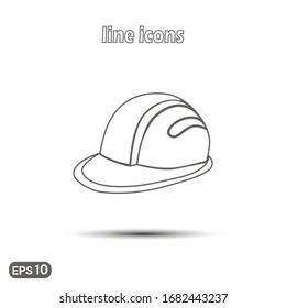 Helmet or helmet vector linear icon. Symbol on a white background. Modern simple flat icon for website design, logo, application, user interface. Vector illustration EPS10.