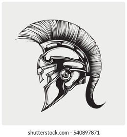 Helmet of warriior logo vector.