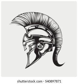 Helmet of warriior logo vector.