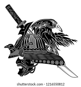 Helmet and warrior mask of the Samurai, ancient sword and Tengu - crows the werewolf. Japanese culture. Oriental mythology. Black tattoo. Illustrations for t shirt print. Vector illustration.