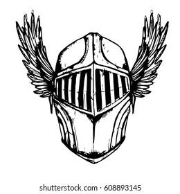 Helmet white and black , wings ,