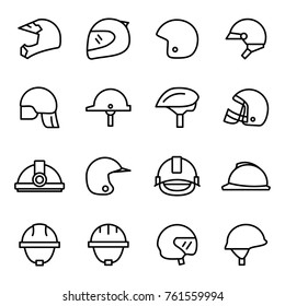 Helmets and masks icons collection on white backgorund